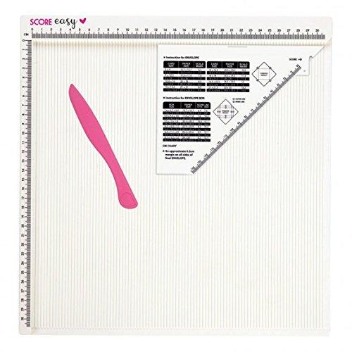 'Vaessen Creative 12x 12Zoll Craft Scoring Board für Karte machen und DIY Umschlag mit Knochen Ordner und Messung Guide, weiß, 34,5x 32,8x 1,7cm (Knochen Ordner)