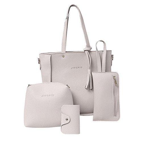 4 Set Borse,Kword Donna Nappe in Pelle Borsa a Tracolla + Crossbody Bag + Pochette + Card Hold Grigio