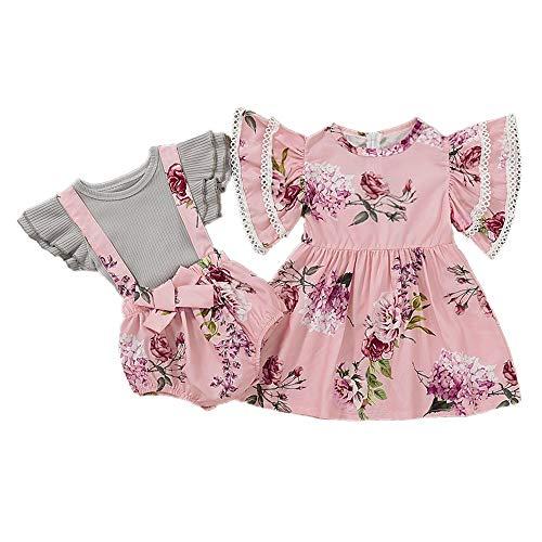 Puseky Baby Mädchen große kleine Schwester passende Outfits Blumenkleid und Rüschen Hosenträger Outfits Set (Color : Pink, Size : Suspender-0-6M) - Schwester Große Passende Kleine Schwester