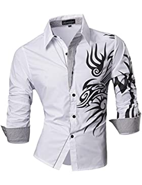 Jeansian Uomo Camicie Maniche Lunghe Moda Men Shirts Slim Fit Casual Long Sleves Fashion Z001
