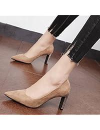 Xue Qiqi Corte los zapatos El simple satin señaló-toe alto talón zapatos femeninos de perforación de agua con...