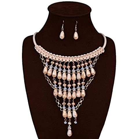FAONL Europe And The United States Fashion Hand Woven Long Section Crystal Flower Necklace