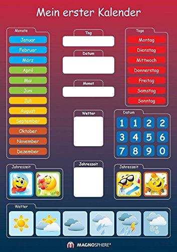 Magnetischer Kinderkalender zum Lernen, Maße: DIN A3 29,7cm x 42 cm, 41 Teile - Dieser Kalender hilft beim Verständnis der Wochen, Monate, Jahre und Jahreszeiten. Zum Aufhängen geeignet, Alter 3+, 41 Teile