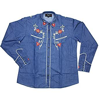 Relco Denim Blue Cowboy Western Style Three Colour Embroidered Polycotton Shirt X-Large