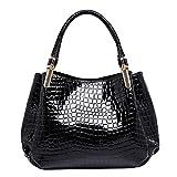 AiSi Damen Lack Leder Handtasche/Damenhandtasche / Henkeltasche mit Reißverschluss Schwarz