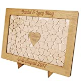 Caja de madera de buzón para regalos de boda personalizada con marco de corazones