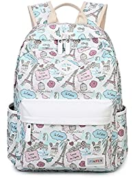 HAPPYTIMEBELT Double Zipper Eiffel Tower Printing School Backpack Student Book Bag(Blue)