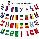 WM 2018 Bandiera in Russia, 32 Paesi Bandiere Ghirlanda, Bandiere perfetta decorazione casuale, Intermational bandiere bandierine, Paesi del Mondo banner con diversi bandiere nazionali