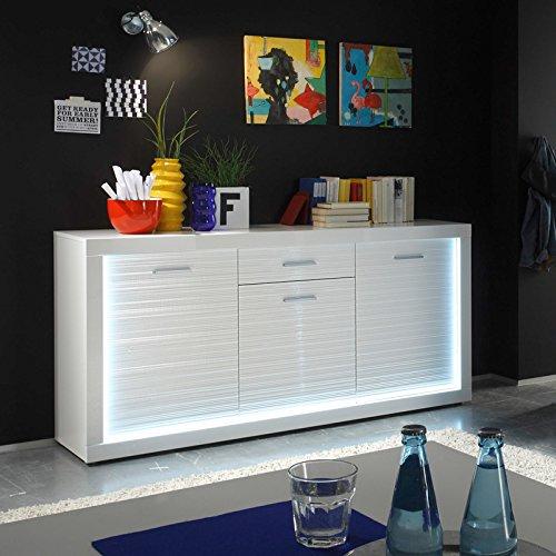 Wohnwand & Sideboard Hochglanz weiß Vitrine Anbauwand Schrankwand Fernsehschrank - 6