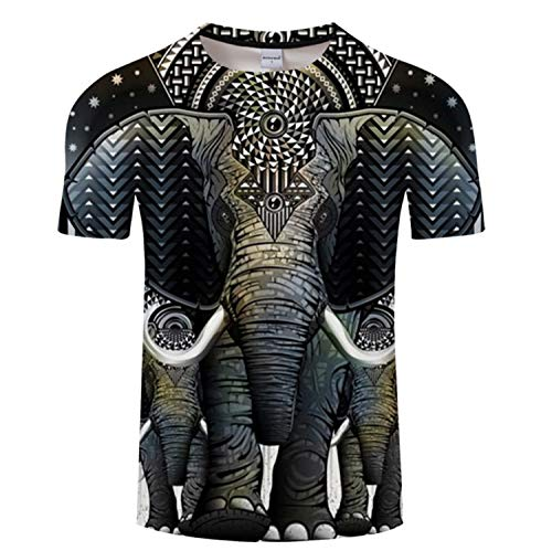 Camiseta de impresión 3D Camiseta Fresca de los Hombres de Manga Corta Elefante Retro Tops de Verano Camiseta de Moda Masculina Camiseta Masculina -L