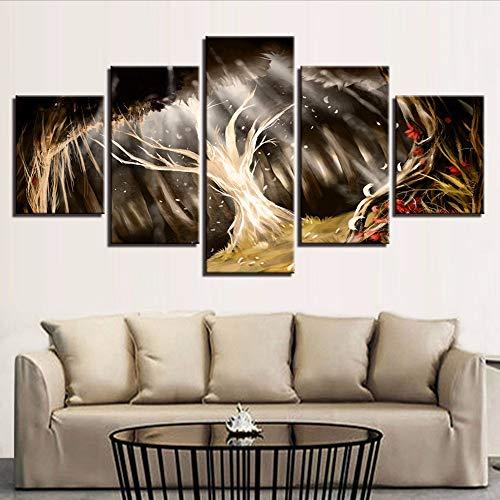Leinwand Gemälde Wandkunst Modulare HD Drucke 5 Stücke Anime Abstrakte Baum Feder Poster Wohnkultur Mythologie BilderLeinwand -20x35/45/55cm,without frame (Halloween Feder Baum)