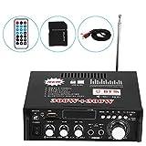 Amplificatore Stereo per Auto, 12V 600W Amplificatore di Potenza audio Stereo Bluetooth HiFi Telecomando 220V USB, Impedenza dell'Altoparlante 4-8Ω