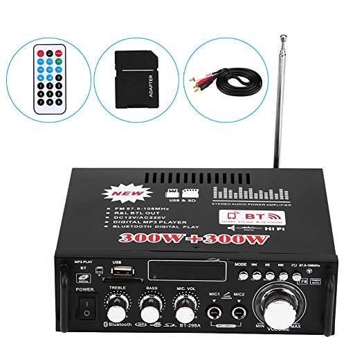 ker, 12V 600W Hifi Verstärker Bluetooth HiFi Stereo Audio Power Verstärker Fernbedienung 220V USB, 4-8Ω Lautsprecherimpedanz ()