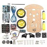 LaDicha Kit Ultrasónico Ultrasónico del Coche del Seguimiento del Chasis del Coche del Robot De 2 Ruedas para Arduino