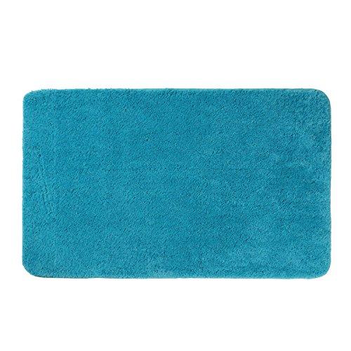 Axentia Alfombra de baño Modern–Alfombrilla de baño & grande de microfibra de cuarto de baño Alfombra antideslizante de baño para ducha, lavabo y bañera, plástico, turquesa, 100x 60x 1.5cm
