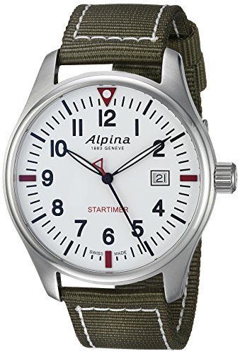 Alpina Men's 'Startimer' Swiss Quartz Stainless Steel and Nylon Casual Watch, Color:Green (Model: AL-240S4S6)