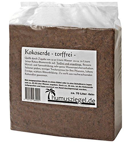 Humusziegel 70 Liter Kokosblumenerde | gepresste Blumenerde aus Kokosfaser | in 4 Kokoserde Briketts teilbar | Kokoshumus