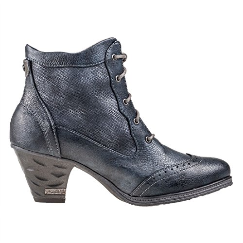 Mustang 1255-501 Schuhe Damen Schnür Stiefeletten Ankle Boots Blau