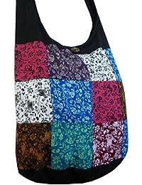 BTP! Elephant Floral Print Sling Crossbody Shoulder Bag Purse Hippie Hobo Thai Cotton Gypsy Bohemian Large (Patchwork...