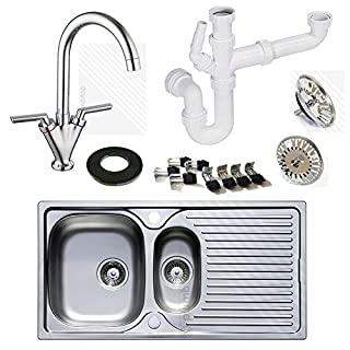 Astracast Stainless Steel Kitchen Sink 1.5 Bowl with Kitchen Mixer Tap | Includes FREE Pipework worth £19.99