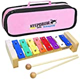 KEEPDRUM KGS Pro Kinder Glockenspiel aus Holz mit Tasche Pink