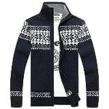 Herren Jacquard Pullover Freizeit Zipper Strickjacke Slim Fit Sweatshirt Langarm Herbst Winter Jungen