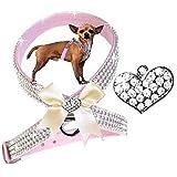 M Rosa Bow Herz Chihuahua Hunde Strass Geschirr Hundegeschirr Softgeschirr