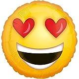 Folienballon VERLIEBTER SMILEY XXL 45cm, Luftballon mit Liebe + PORTOFREI mgl + Geschenkkarte + Helium & Ballongas geeignet. High Quality Premium Ballons vom Luftballonprofi & deutschen Heliumballon Experten. Liebesgeschenk Ballon und Ballondeko zum Jahrestag