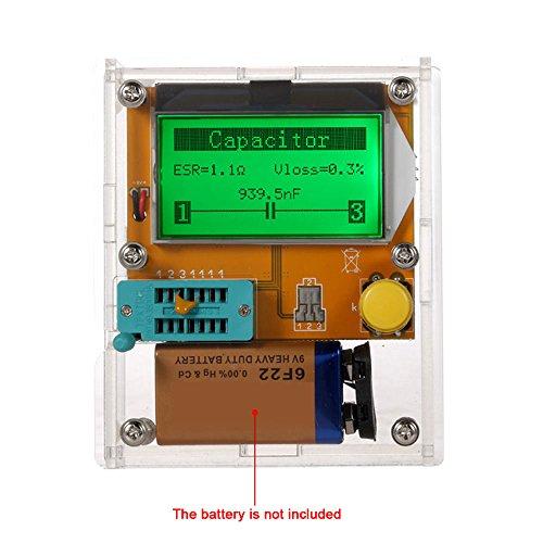 KKmoon Multifunktions Transistor Tester Diode Triode Kapazität ESR Meter MOS PNP NPN LCR LCD Hintergrundbeleuchtung mit Gehäuse (Test-batterie Multimeter)