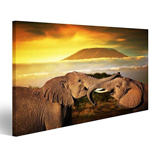 Cuadro Cuadros Los elefantes jugando con sus troncos en la sabana Monte...