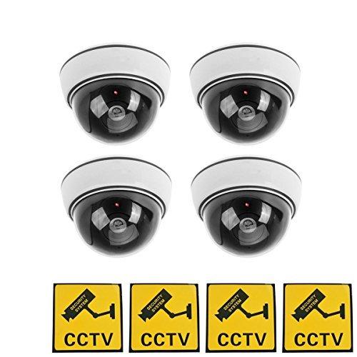 phot-r 4x Outdoor Indoor Fake Nachahmung IR Dome CCTV blinkende LED Blinklicht Überwachung Sicherheit Kamera-Attrappe mit Warnung Aufkleber-weiß 4 Indoor-dome-kameras
