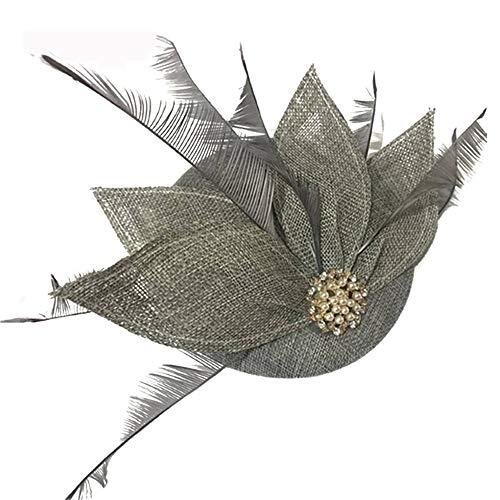 SweetStyle Zylinderhut Grünblauer Blatthutspitzen-Jockey-Haar-Zubehör-Kopfschmuck, Armeegrün