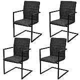 Festnight 4 Stücke Freischwinger Esszimmerstühle Essstuhl Küchenstuhl mit Armlehnen Schwingstuhl Schwarz geriffelt