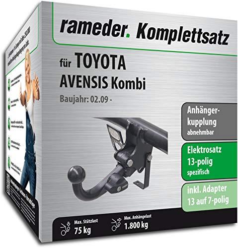 Rameder Komplettsatz, Anhängerkupplung abnehmbar + 13pol Elektrik für Toyota AVENSIS Kombi (117447-08008-2)