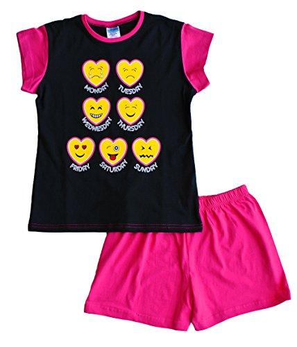 Teenage Girl's Short Pyjamas EMOJI Style Pjs 11 to 16 Years Black