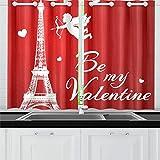 JINCAII Romantica Torre Eiffel Cupido San Valentino Tende da Cucina Tende della Finestra Tende per caffè, Bagno, Lavanderia, Soggiorno Camera da Letto 26 x 39 Pollici 2 Pezzi