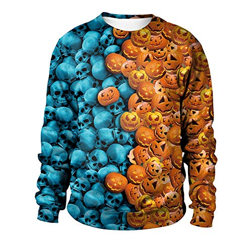 M&m Blauen Teen Kleid Kostüm - MISTYU Frauen Halloween Pumpkinhalloween Day Element Rundhals Design Paar Pullover Abendkleid Herbst Paar Sweatshirt - Orange/Blau-M