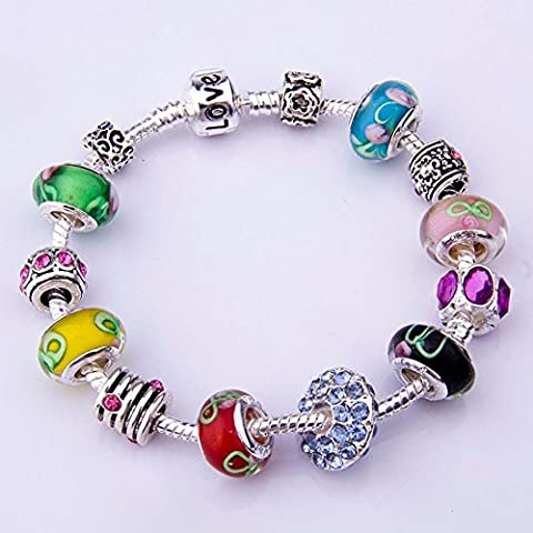SaySure - 925 Silver Charm Bracelet for Women With Chamilia (Apatite Strand)