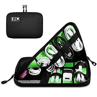 DEFWAY Kabel Elektronik Organizer Tasche Elektronisches Zubehör für USB Stick Kabel Speicherkarte Ladegerät (Schwarz)