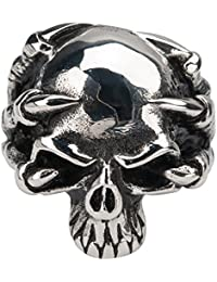 Inox Jewelry Darkened Silver Stainless Steel Claw-Grip Hallowed Jaw Skull Ring for Men