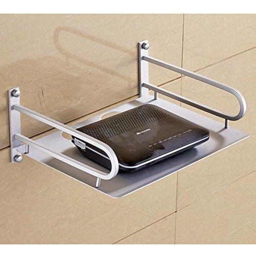 HomeYoo - Équerre pour étagère murale en alliage d'aluminium, support pour box TV, Apple TV, Roku 3/2, routeur, Mini PC, TV, accessoires, DVD Argenté Silver