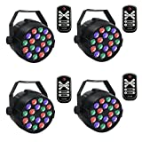 36W DJ Par Lichter mit RGB 18Leds Par Lichter Bühnenlicht Gorgeous Effect von DMX Controlled für Up Stage Lighting - 4 Pack