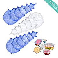 Silicone-Reusable-Stretch-lids,Anbaituor 18 Pack Food Storage Cover Wrap Expandable Silicone Sealed Fit Various Shape for Containers, Dishes, Bowls,Safe in Dishwasher, Microwave, Freezer (18 Pack-BW)