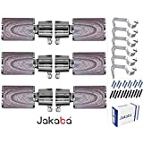 JAKABA Premium Quality Teak Wood Finish Stainless Steel and Alloy Curtain Finials with Heavy Supports - PACK of 12 Pcs. (Finials : 6 Pcs + Supports : 6 Pcs) : Curtain Brackets Set / Holders for Window / Door - JKB1503YL