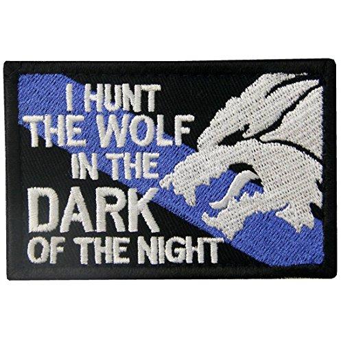 Girl Zubehör Kostüm Biker - Tactical Patch I Hunt der Wolf bestickt Sheepdog Aufnäher Army Moral Haken & Schleife Emblem weiß/schwarz