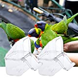 Yunso 2PCS Acryl Vogel Futterspender Käfig Feeder Dish Dispenser Trinker Liefert Budgie Kanarienvogel Klar Schüssel