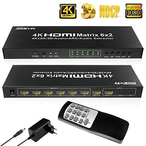 SGEYR 6x2 HDMI Matrix Umschalter 4K 6 Port True Matrix Switch Splitter 6 In 2 Out HDMI Verteiler mit Audio Extractor|SPDIF und 3.5mm Audio Output|ARC Funktion Unterstützt 4K 30Hz 3D 1080P 6 Audio Y-splitter