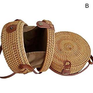 Dastrues Women Round Straw Bag Summer Rattan Handbags Handmade Woven Beach Shoulder Bags