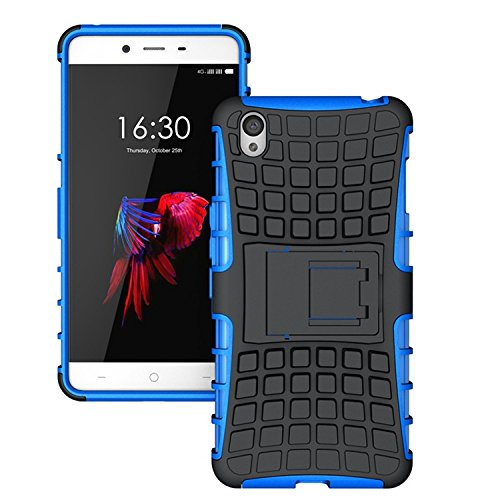 ImagineDesign™ Defender Tough Hybrid Armour Shockproof Hard PC + TPU with Kick Stand Rugged Back Case Cover for One Plus 1+X OnePlus X – Blue