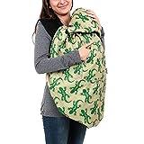 BundleBean Wetterschutz-Cover für Babytragen & Tragetücher - Fleece-Futter - Grüne Geckos